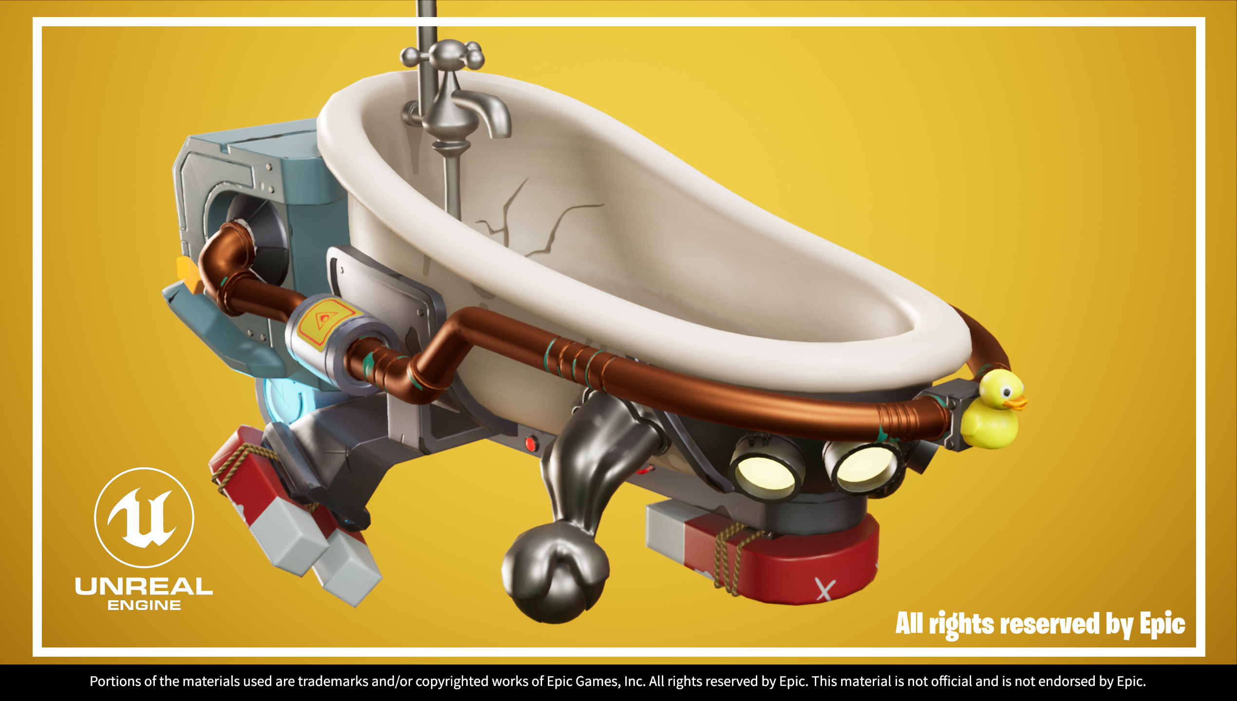 UE4 screenshot of Hover Bath Tub front right close up view
