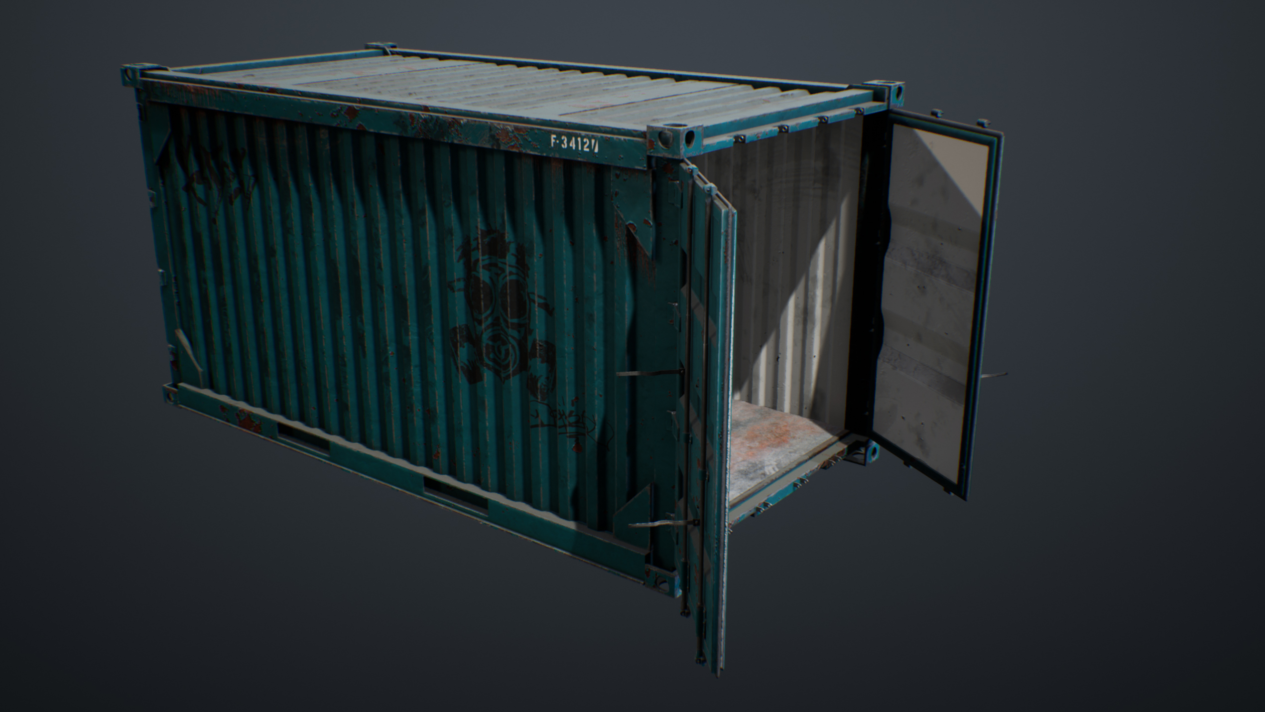 UE4 screenshot of the container top view