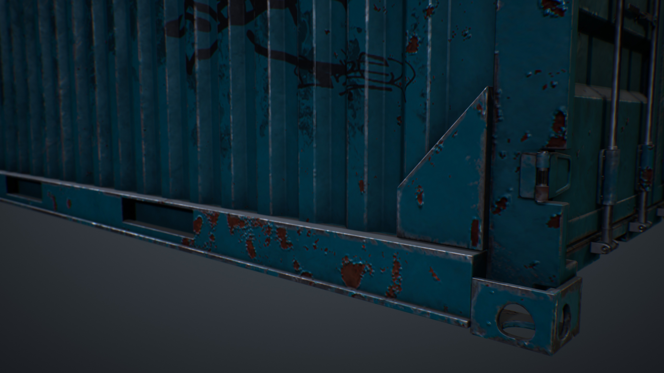 UE4 screenshot close up, detailed shot of the container's base
