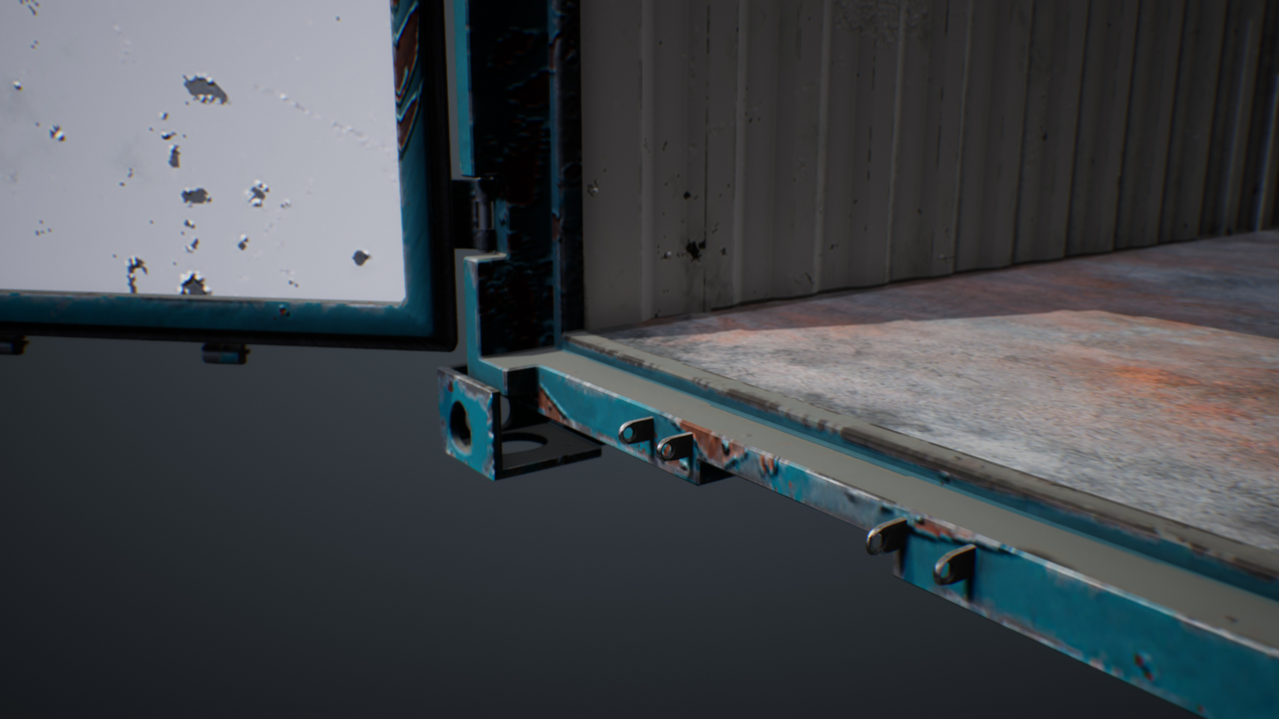 UE4 screenshot detailed shot of the container hinges 4