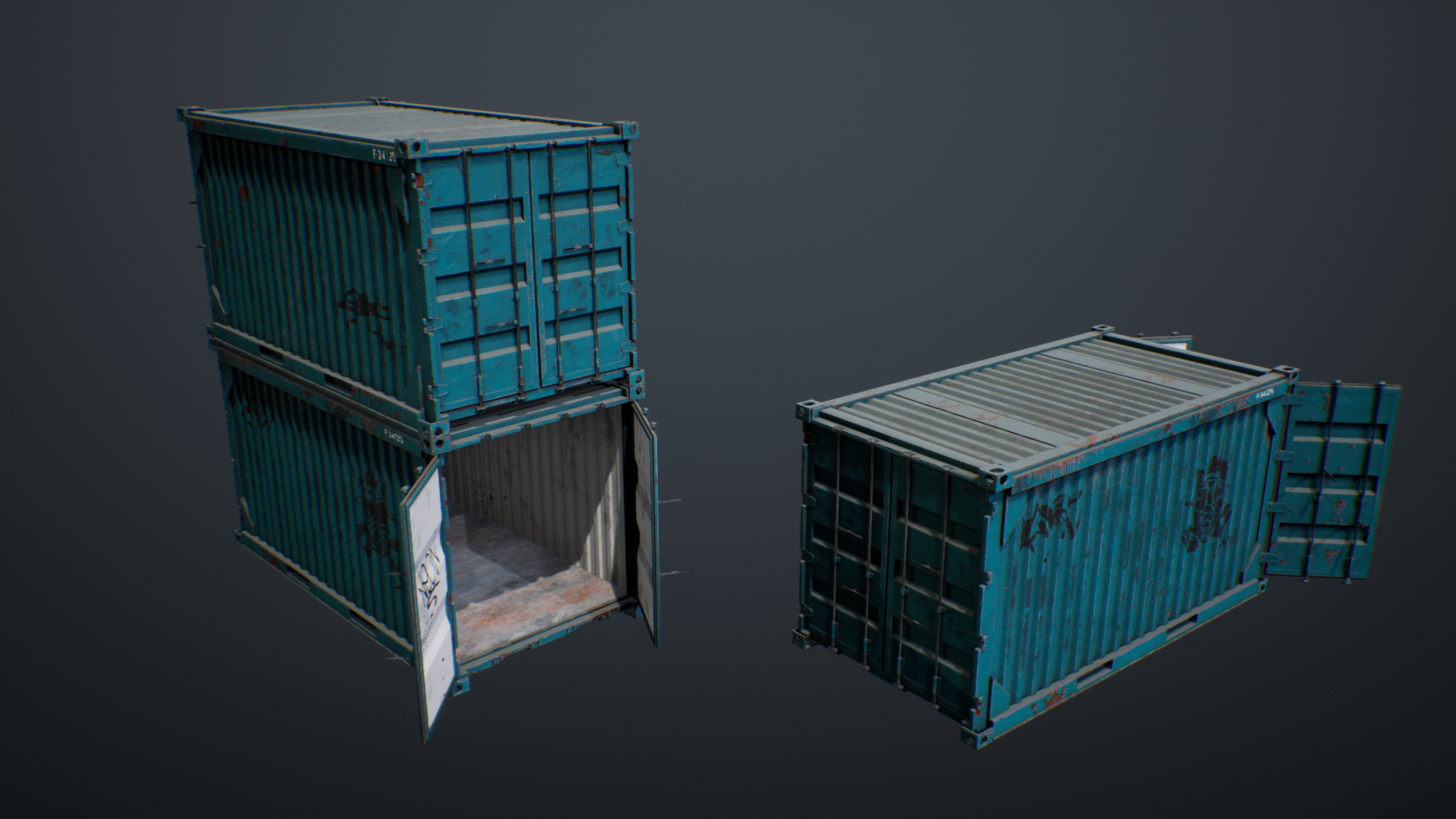 UE4 screenshot front view shot of containers