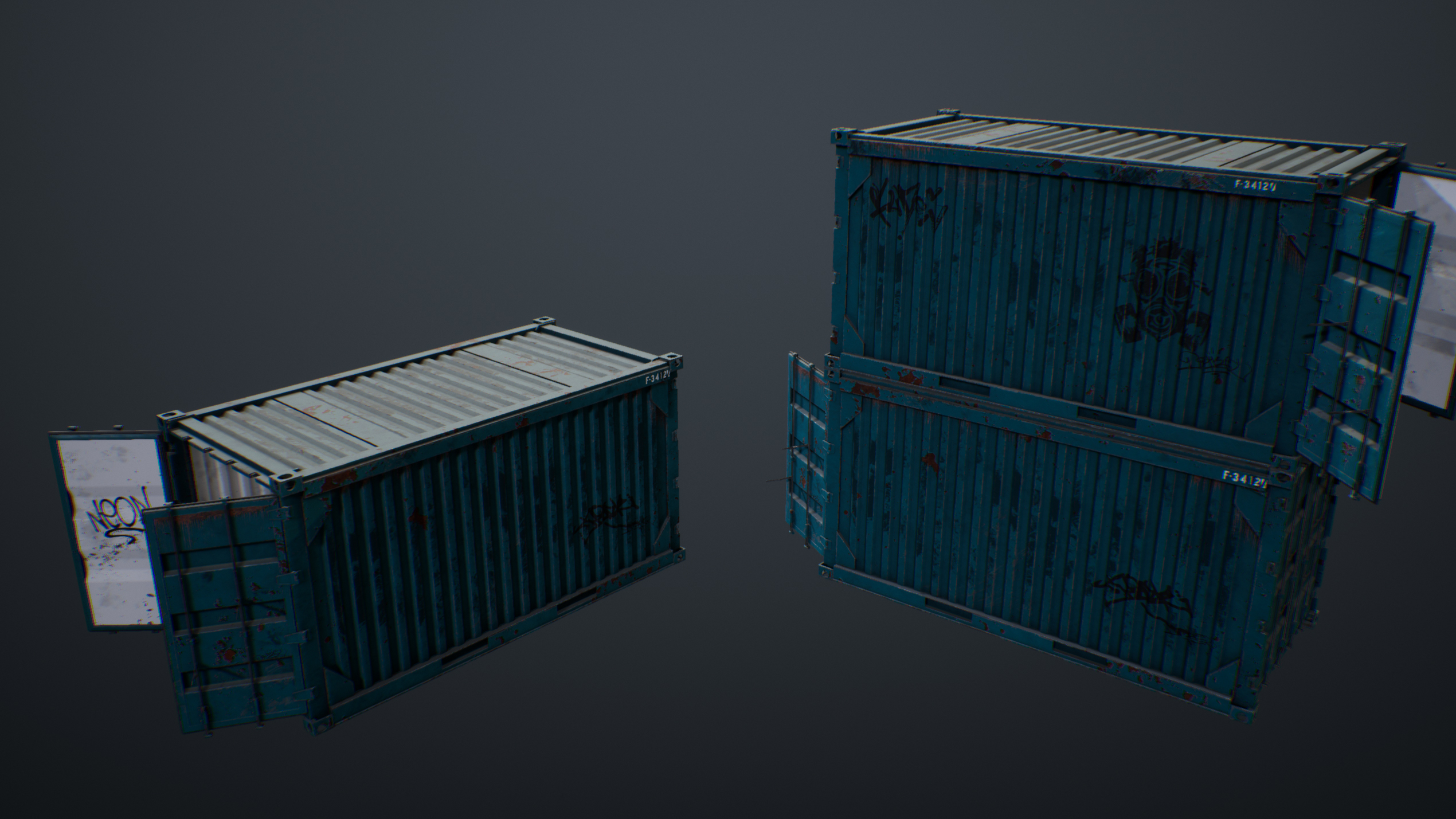 UE4 screenshot back view shot of containers