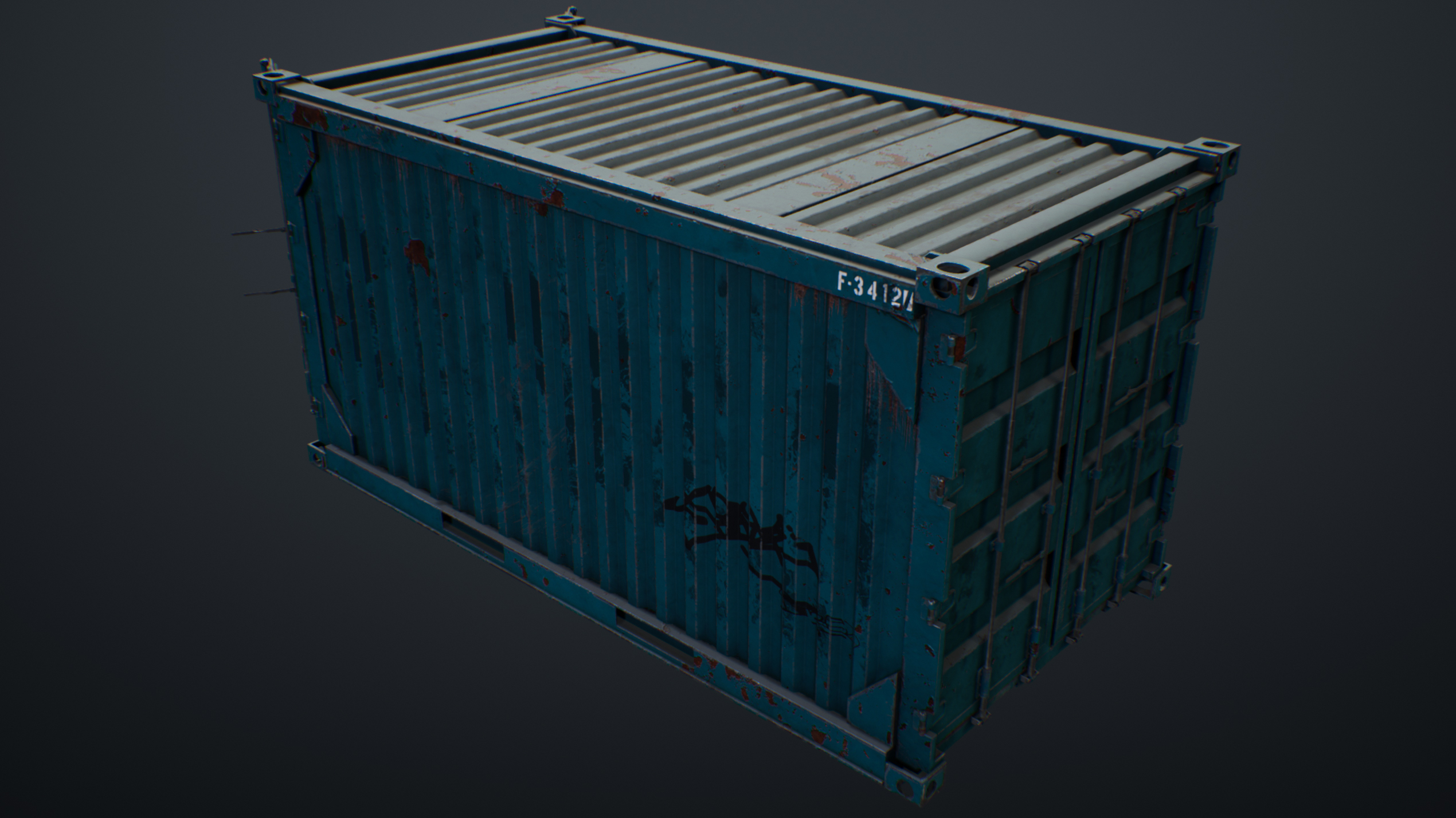 UE4 screenshot of the container back right view