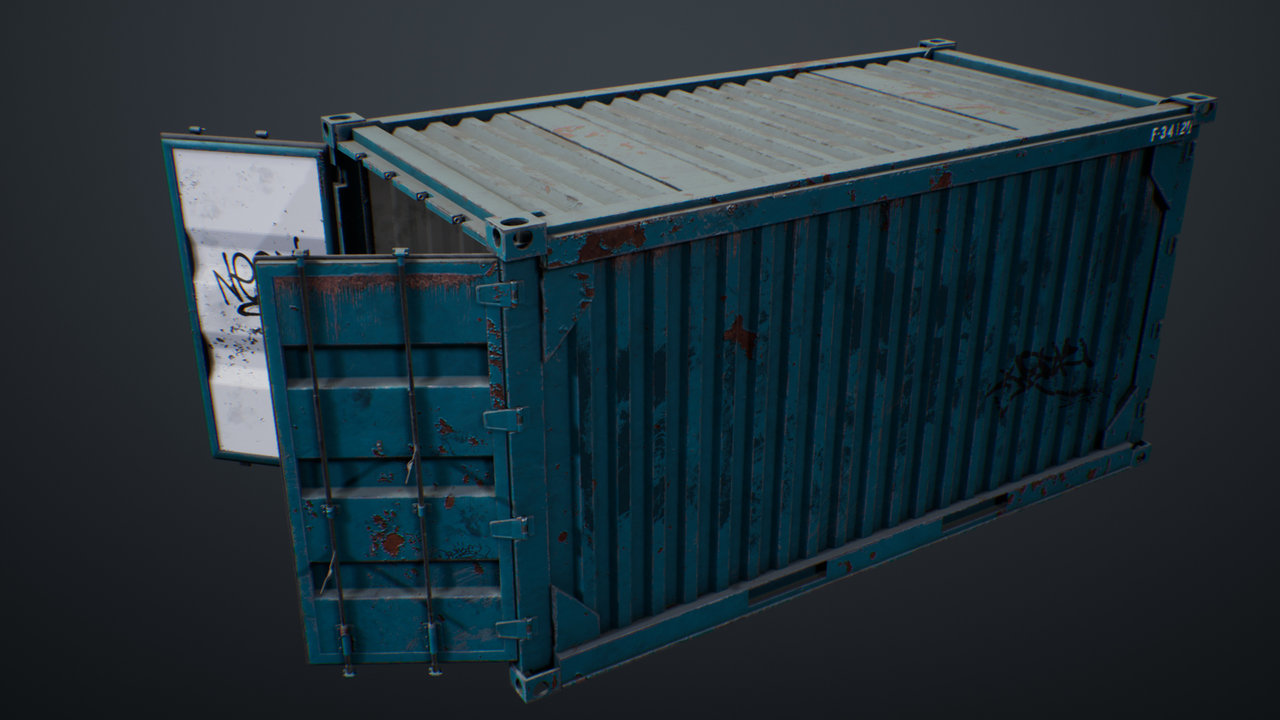 UE4 screenshot of the container front right view