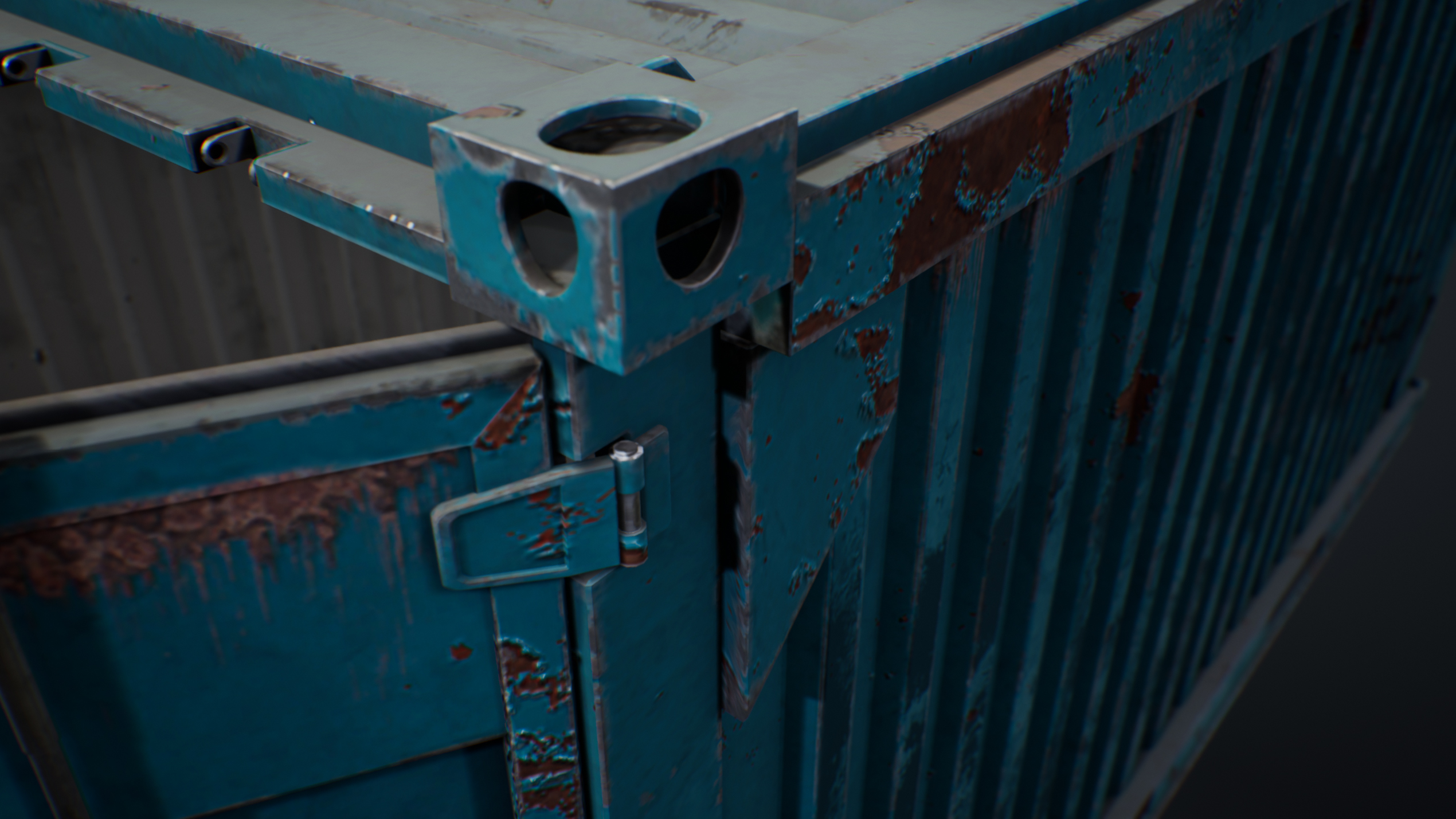 UE4 screenshot detailed shot of the container hinges 1