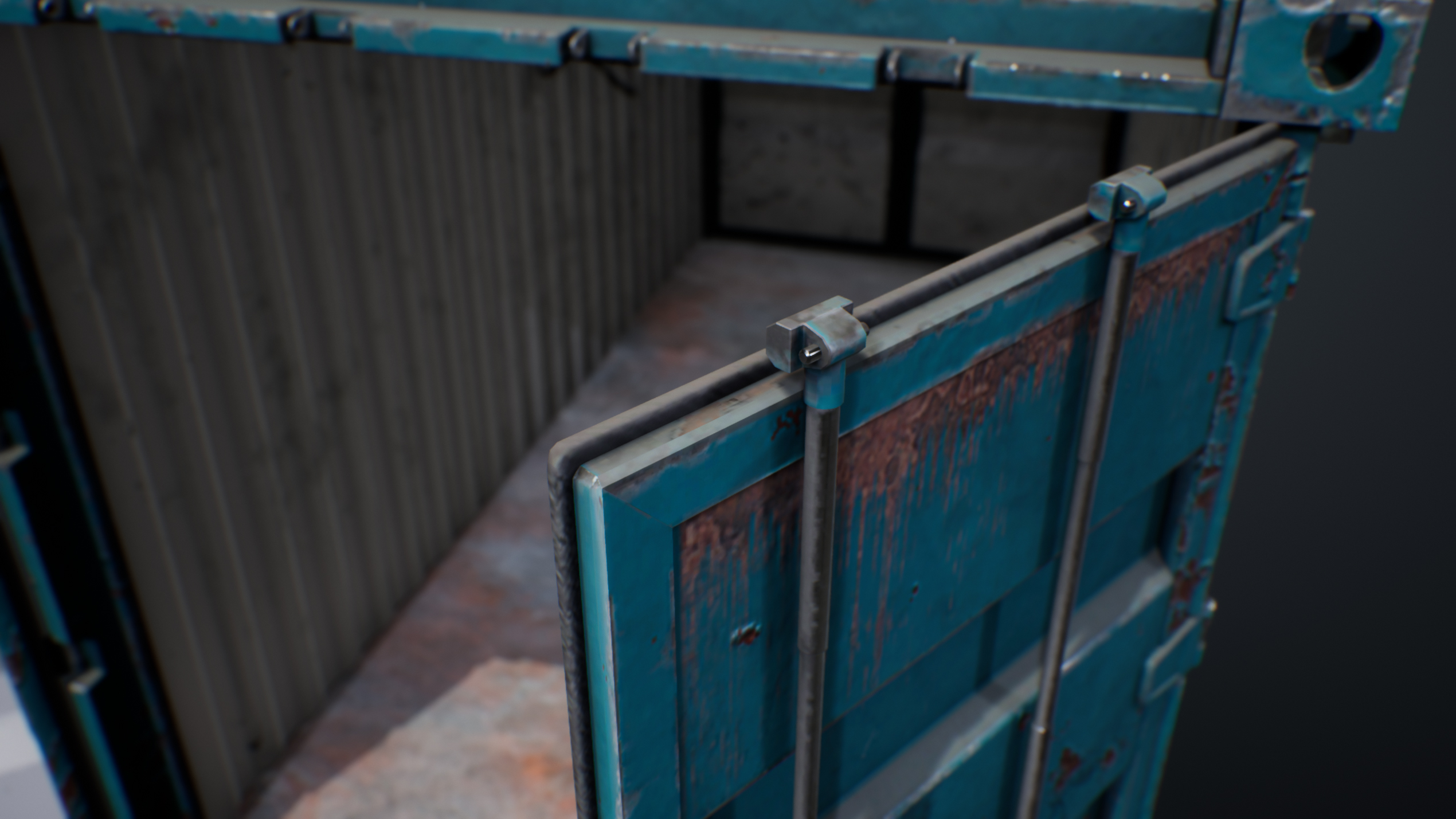 UE4 screenshot detailed shot of the container hinges 3