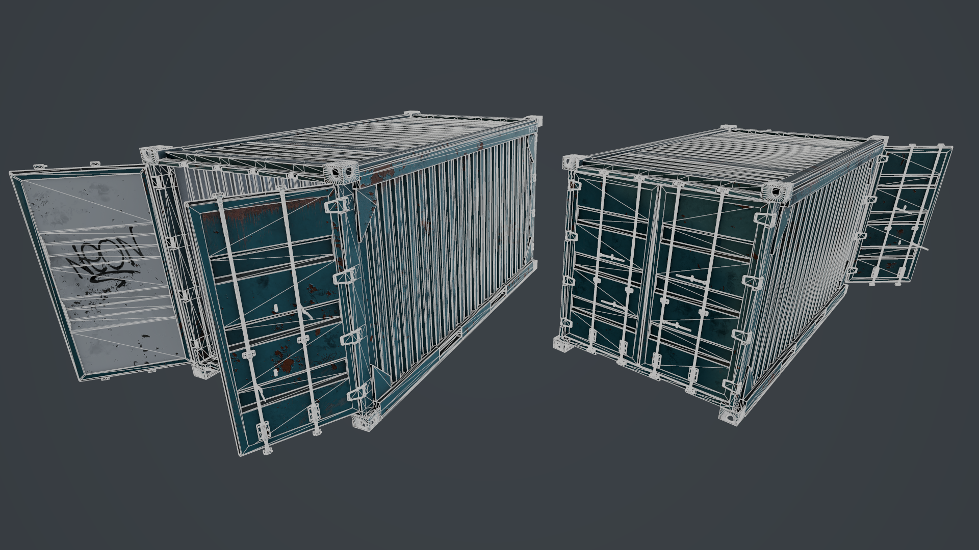 Wireframe shot of the rusty container, rendered in Marmoset Toolbag