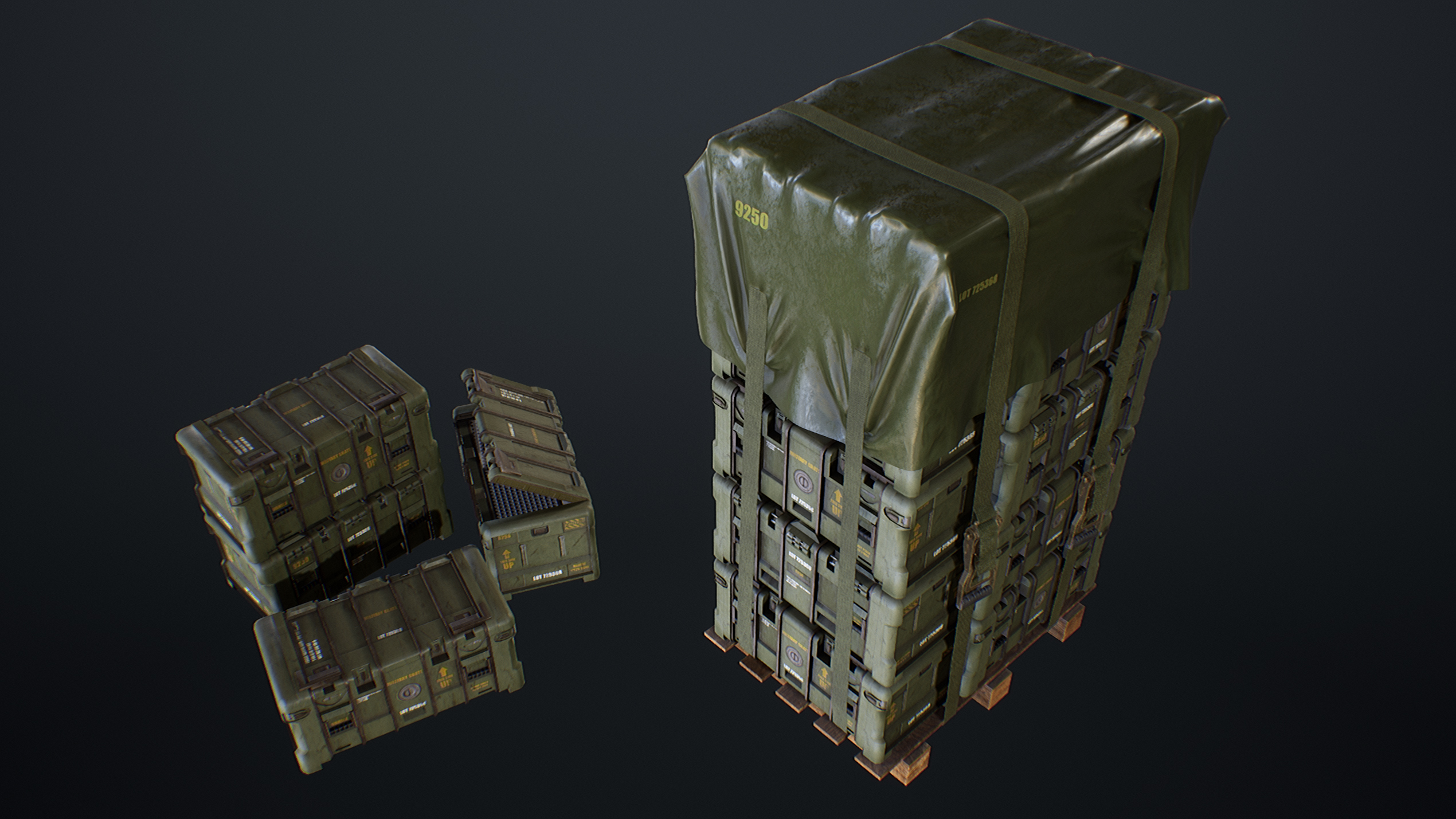UE4 screenshot front top view of the military crates scene