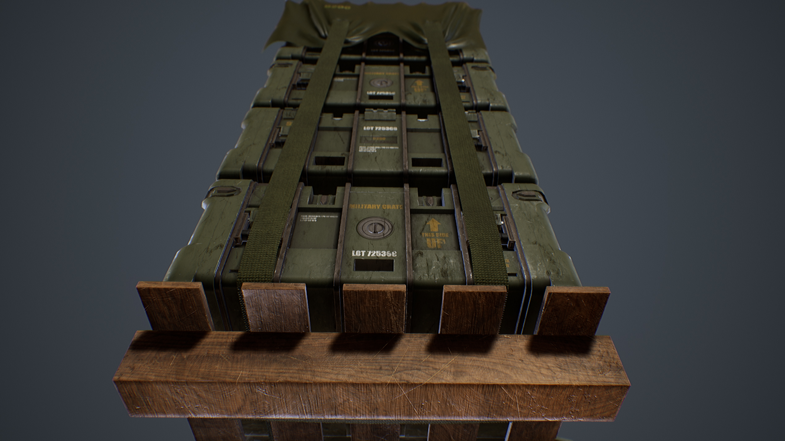 UE4 screenshot close up detailed shot, down top view of the military crates