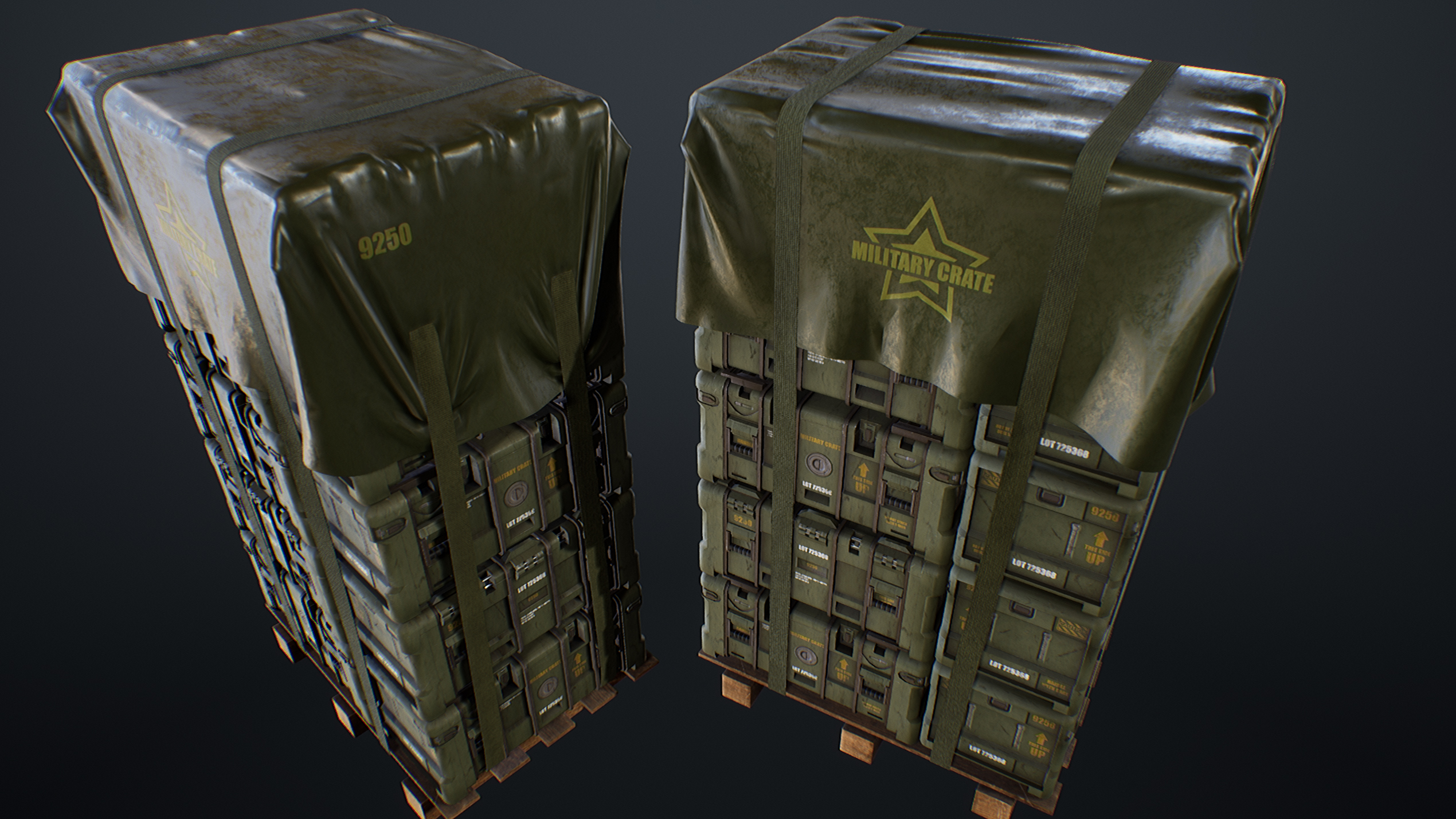 UE4 screenshot back top view of the military crates scene