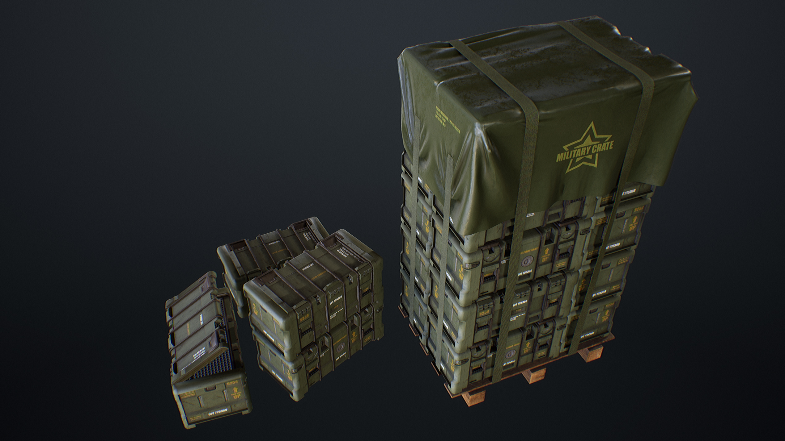 UE4 screenshot side top view of the military crates scene