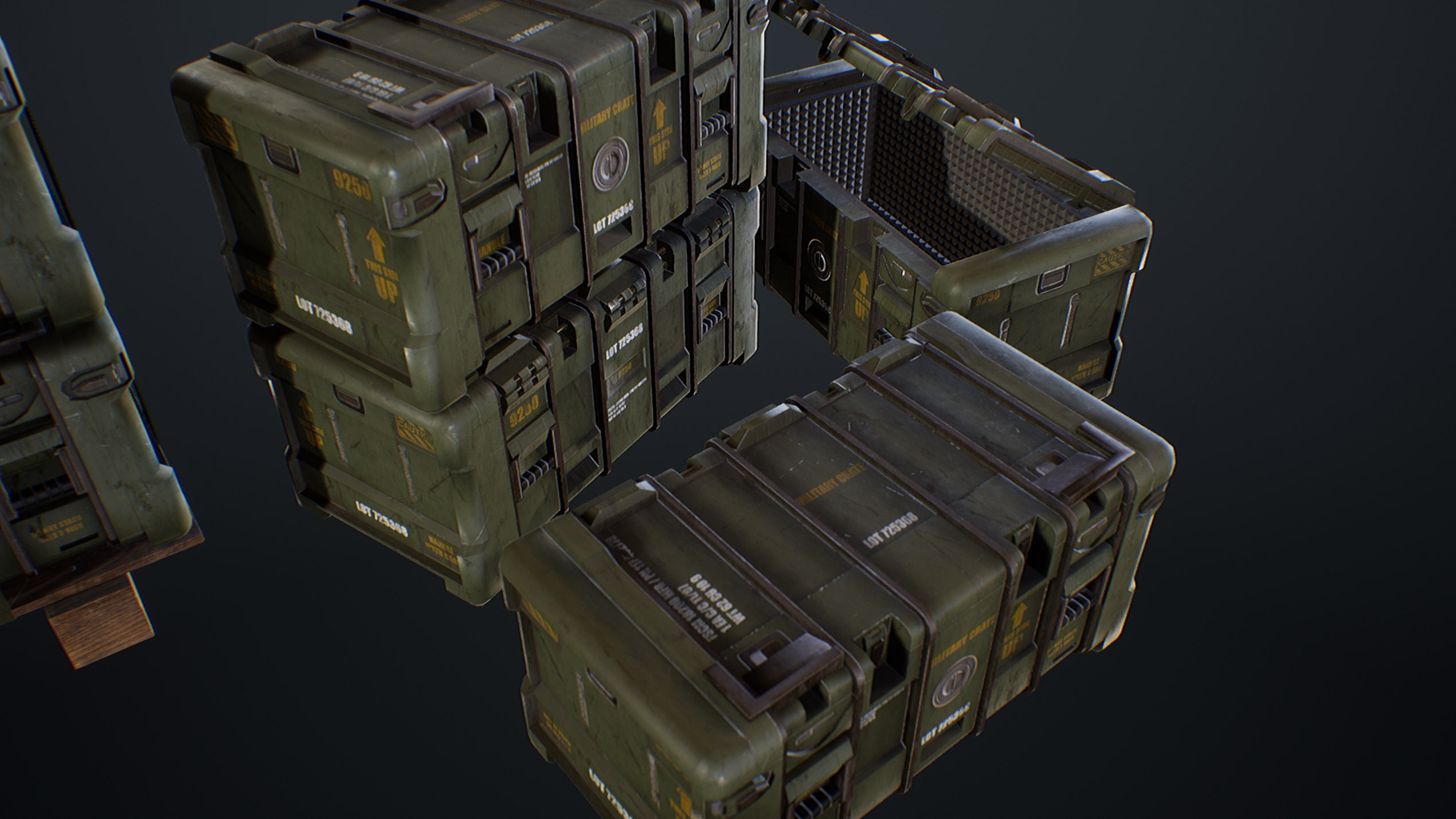 UE4 screenshot close up top view of the crates