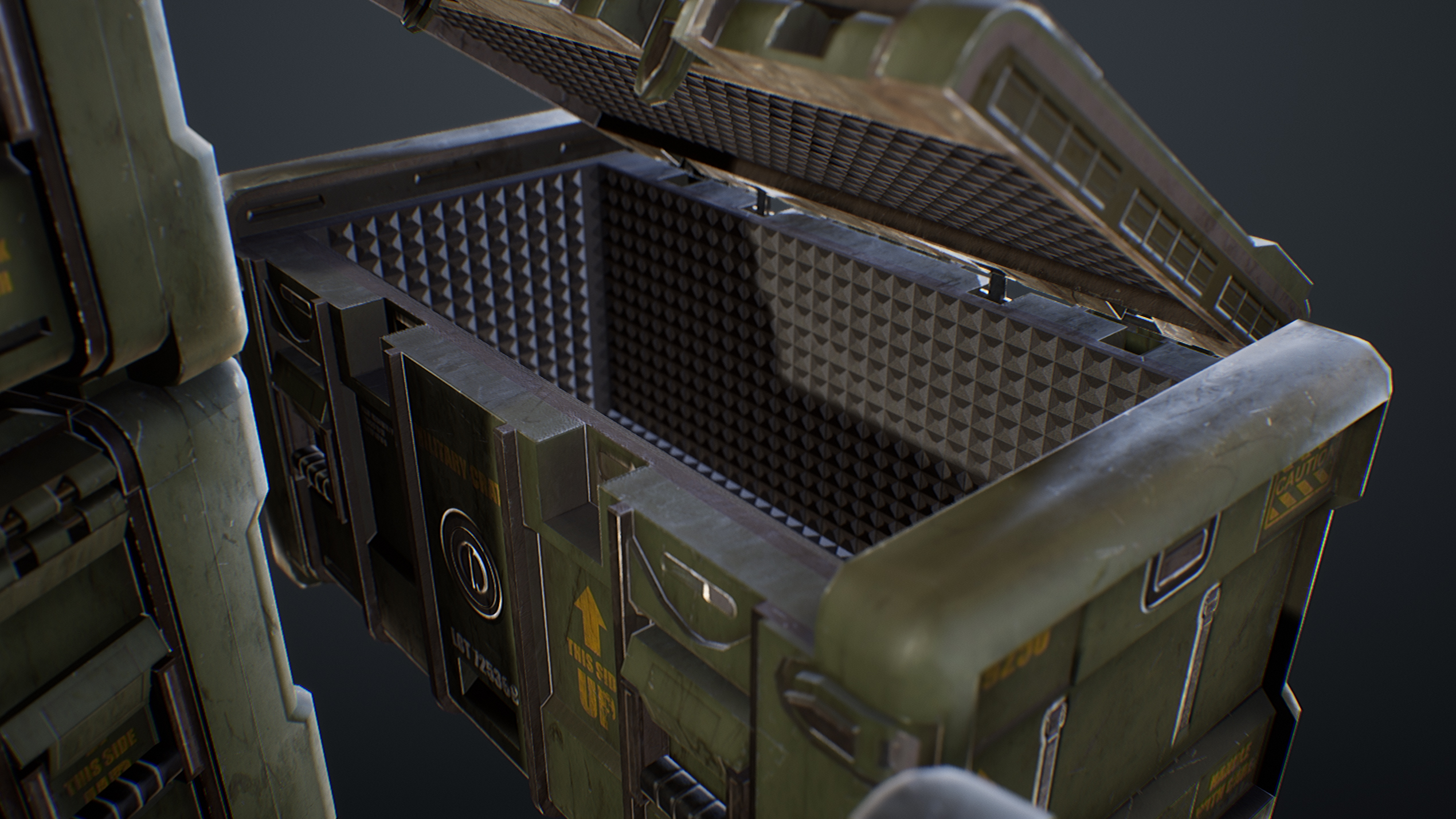 UE4 screenshot close up detailed shot of the open crates