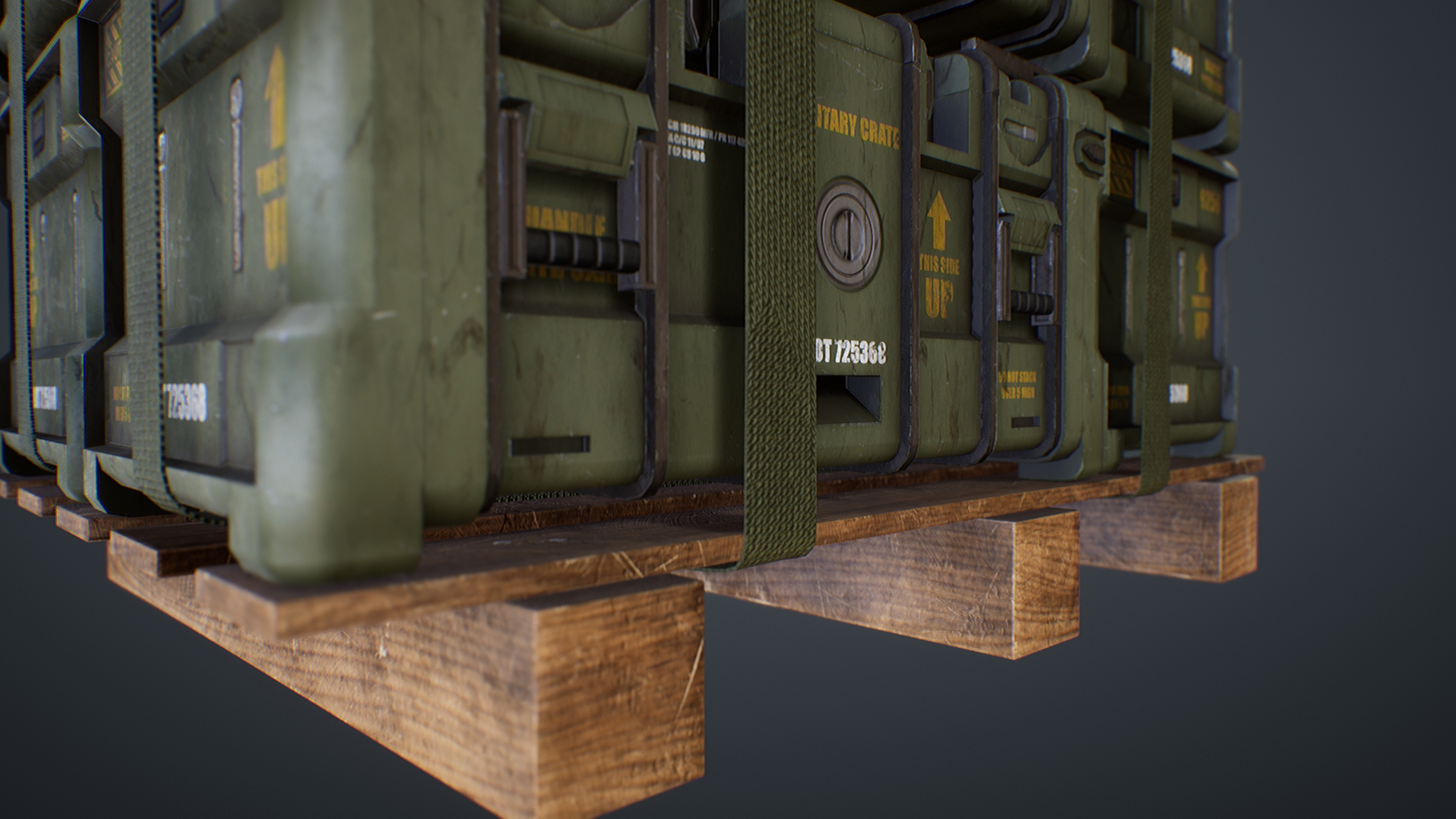 UE4 screenshot close up detailed shot of the crates, straps and wooden pallet