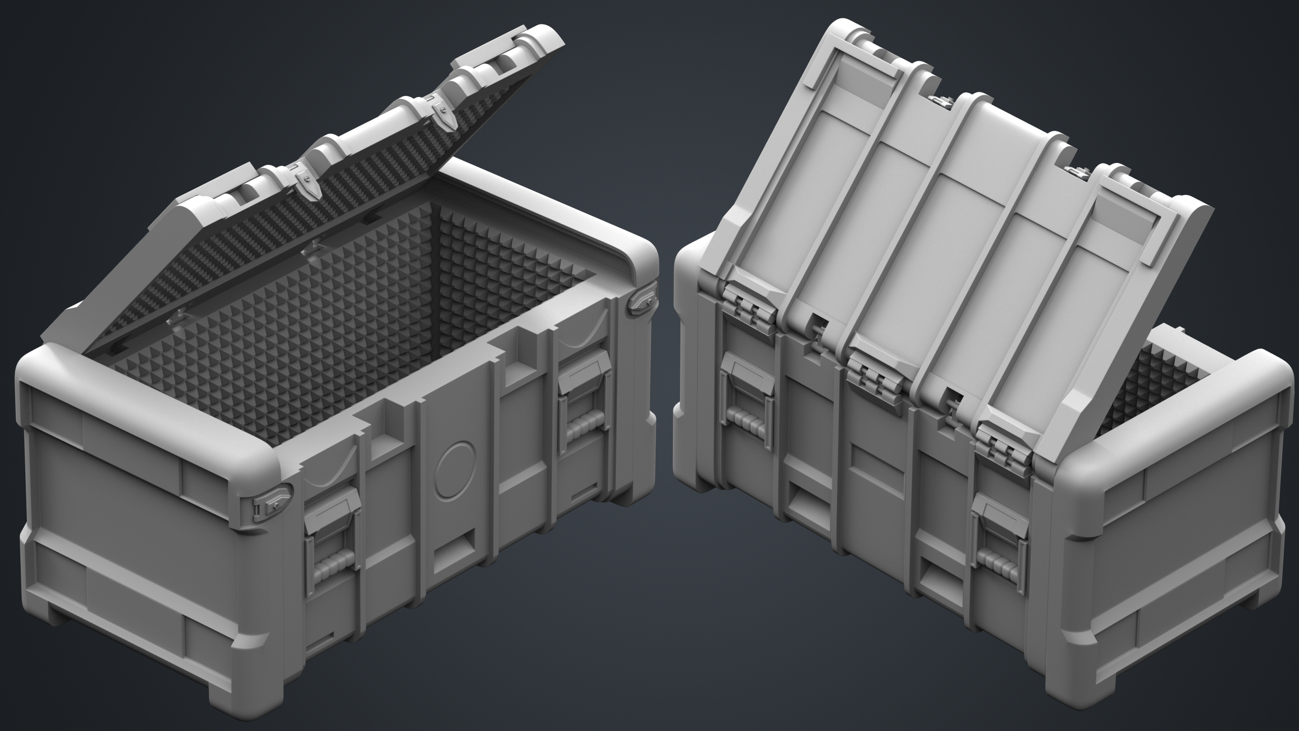 Multi angle shot of the high polygon version of military crates in 3dsmax and rendered with Arnold Renderer