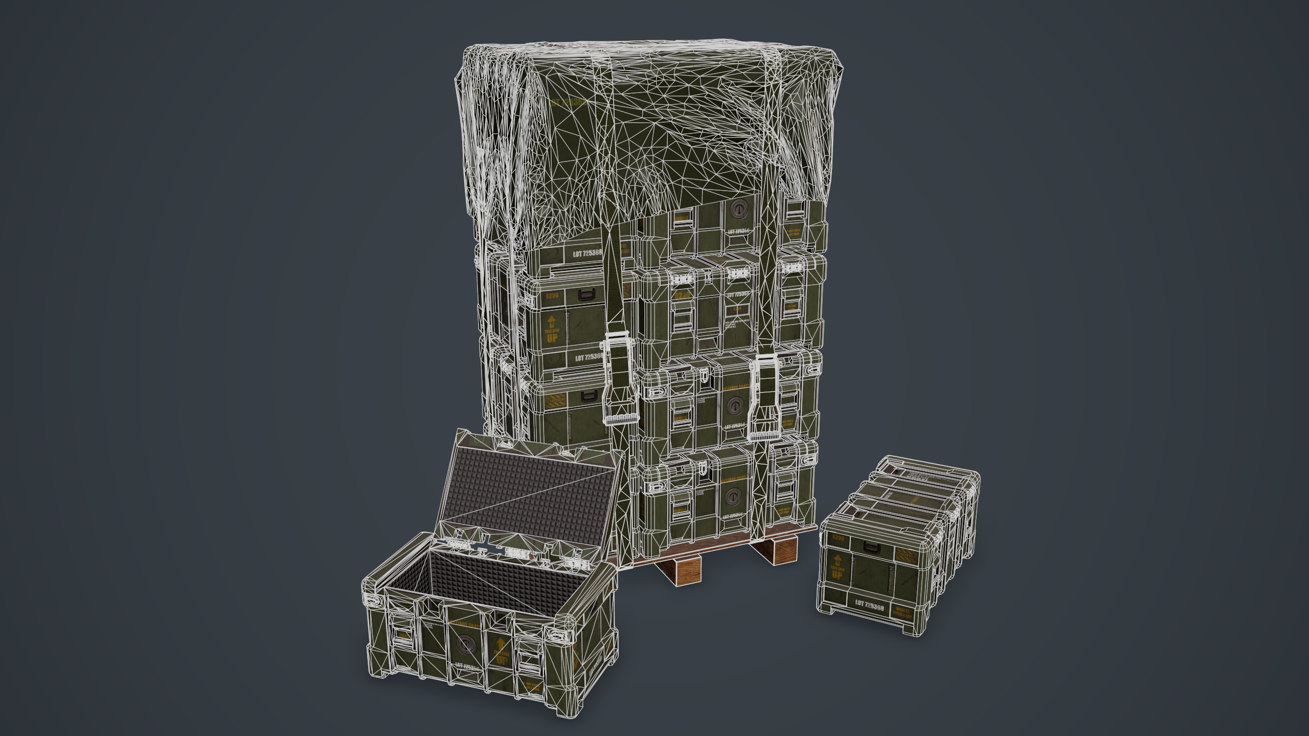 Wireframe shot of the military crate, rendered in Marmoset Toolbag