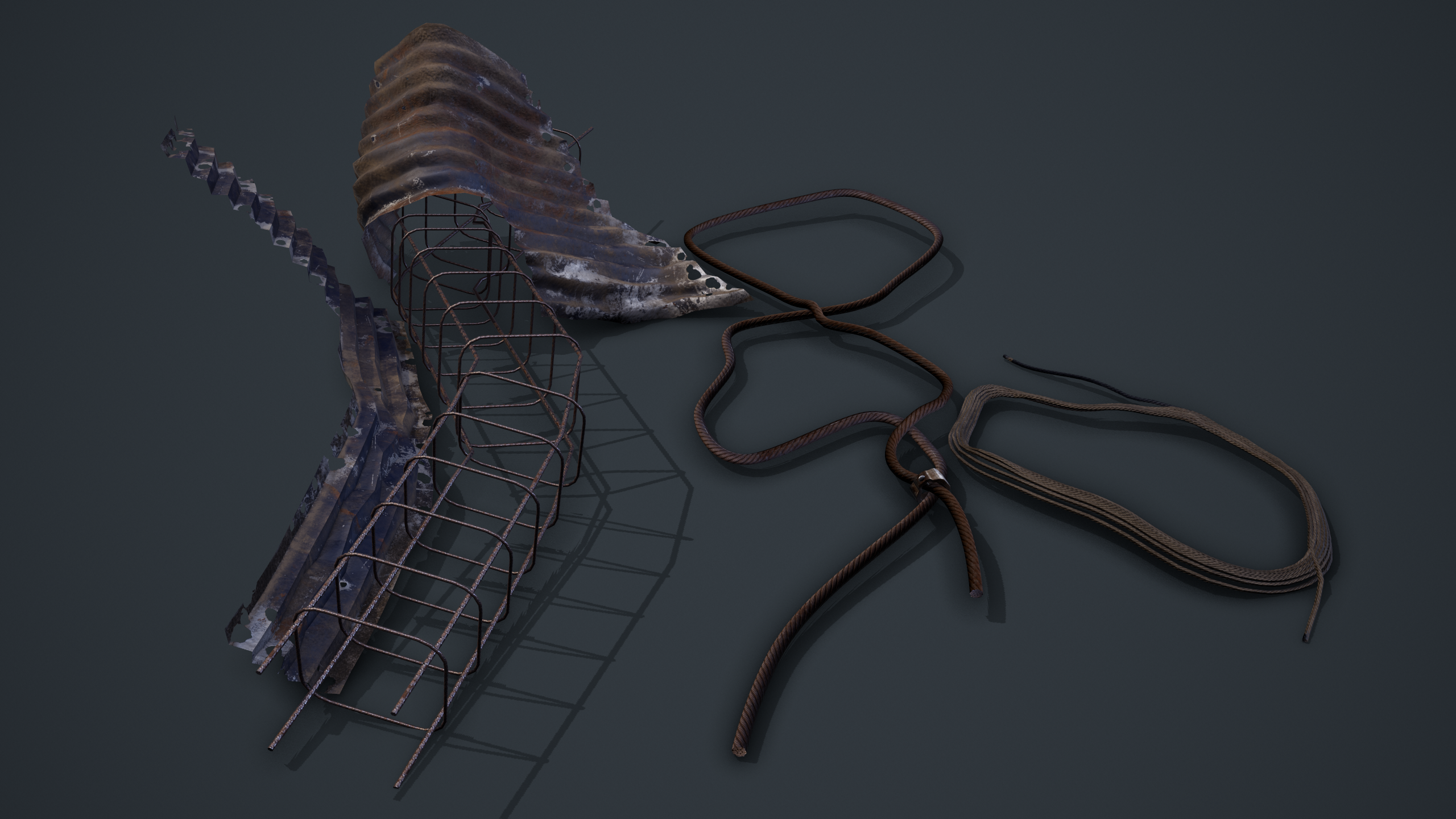 Toolbag rendered screenshot view of various metal cables, damaged metal sheets and metal bars