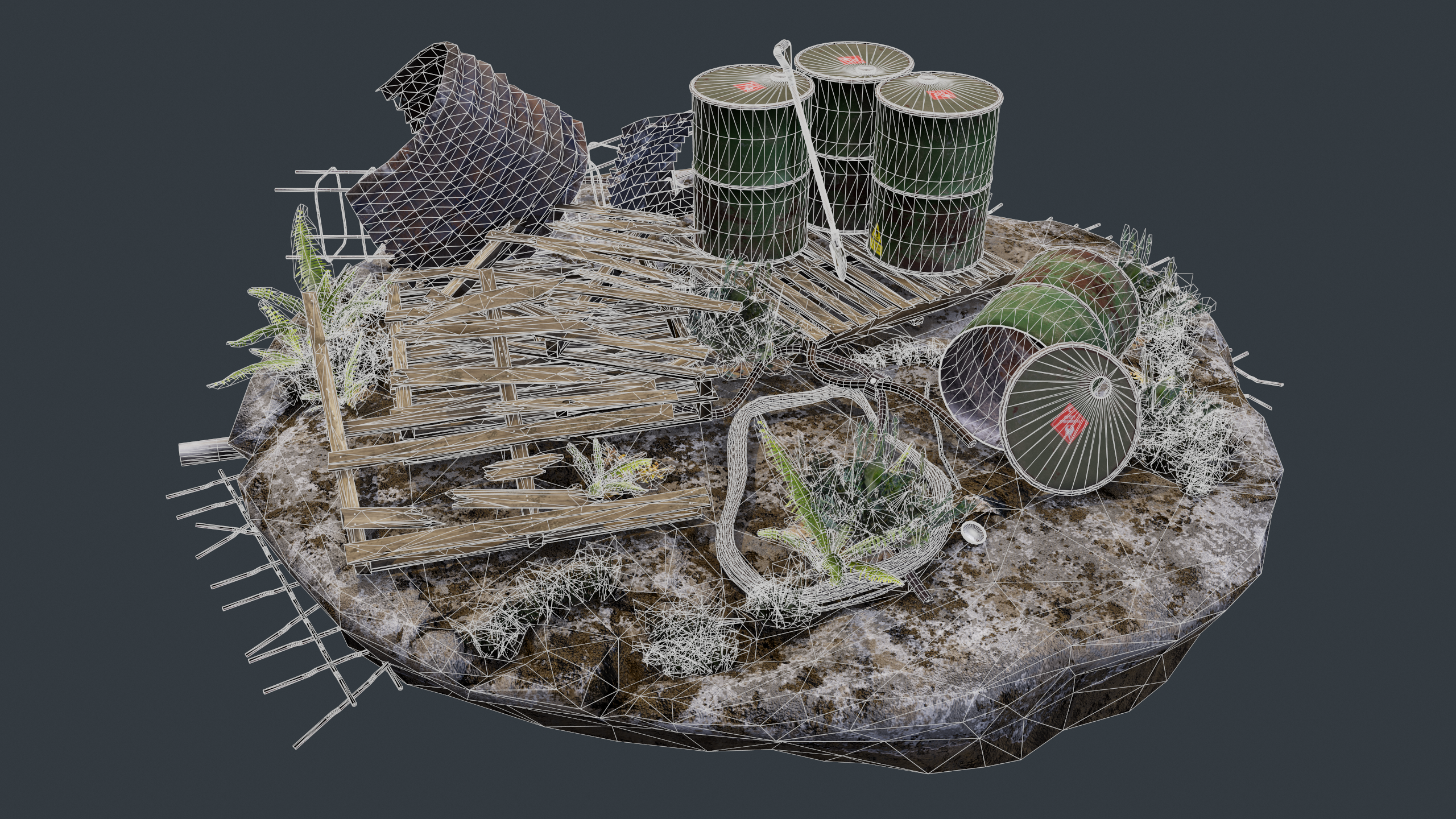 Wireframe shot of the industrial debris scene, rendered in Marmoset Toolbag
