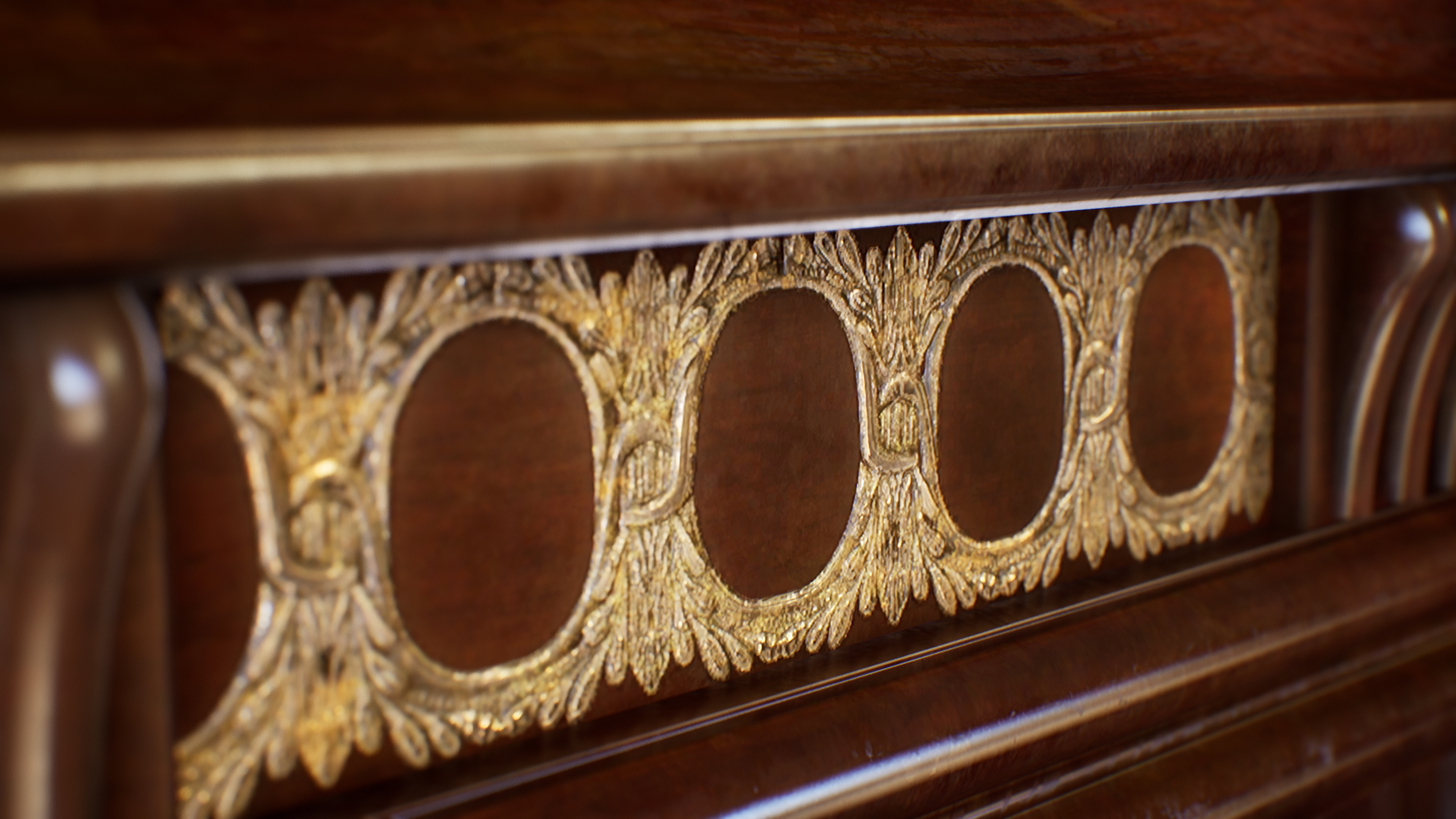 UE4 screenshot close up detailed shot of the victorian table trim decals