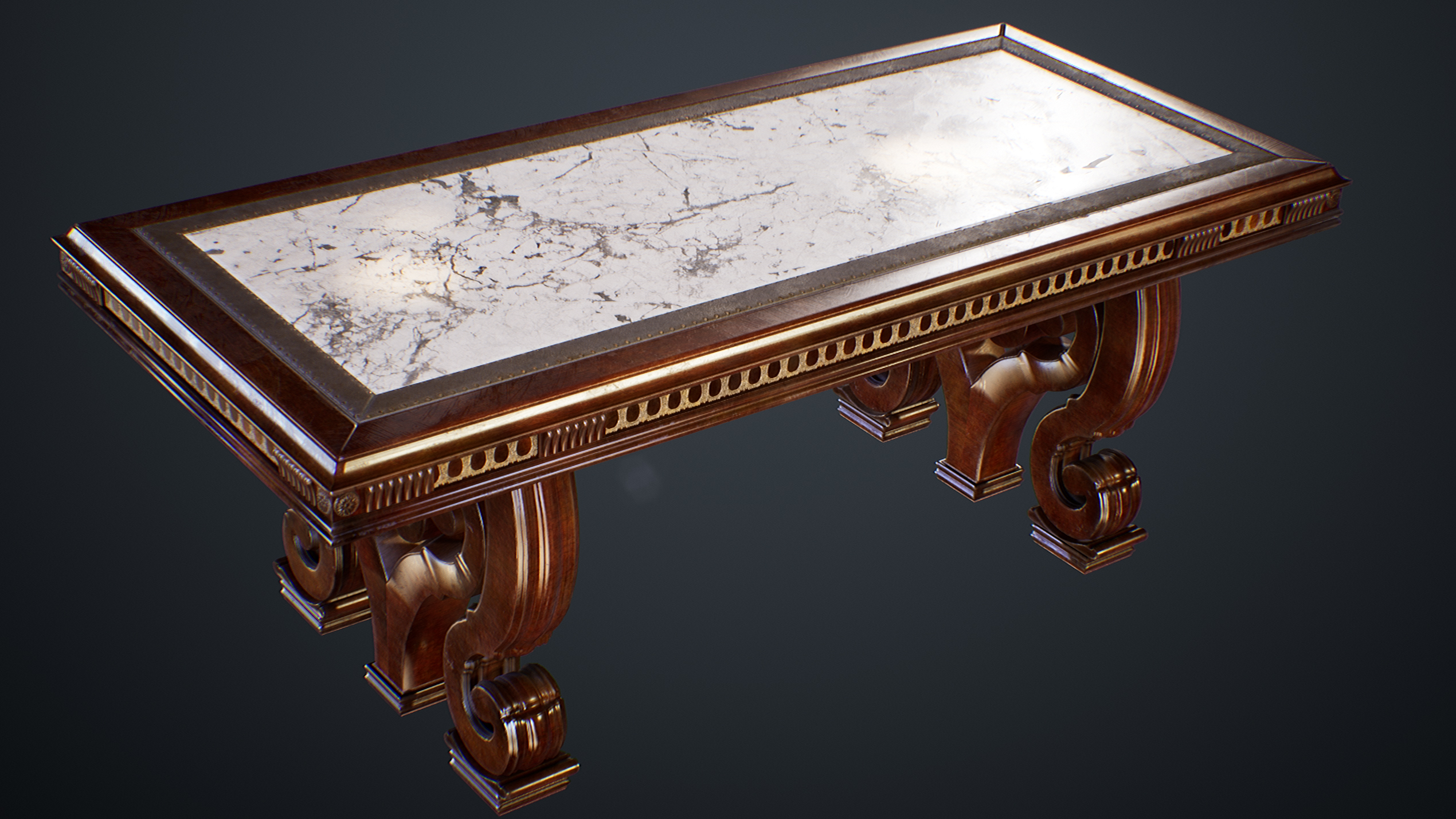 UE4 screenshot of the victorian table without the table sheet