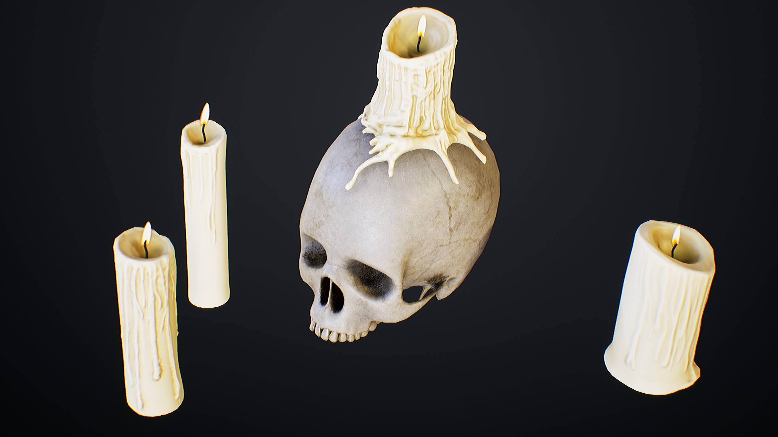 UE4 screenshot close up detailed shot of the scull and candles