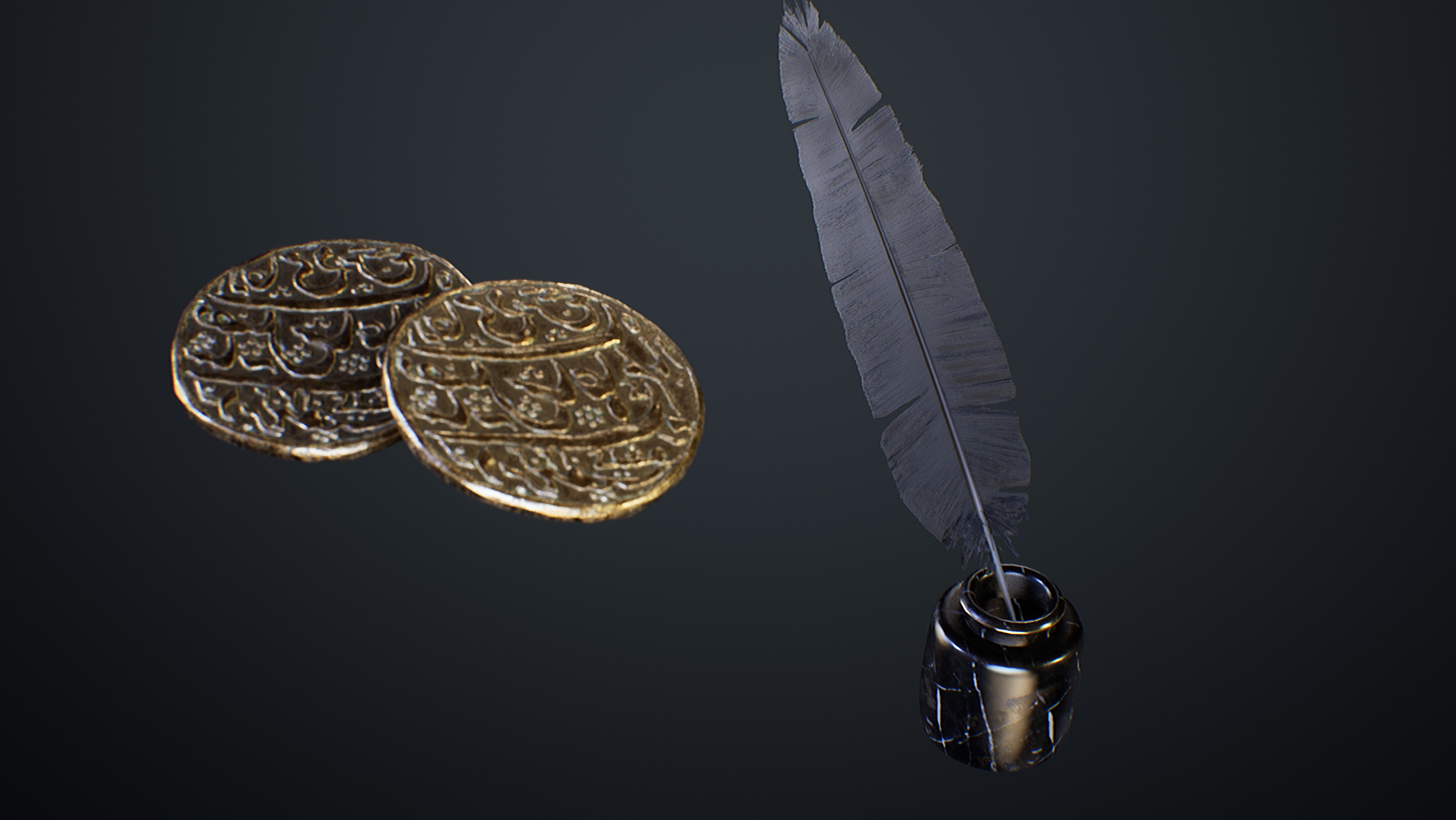 UE4 screenshot close up detailed shot of the feather and ink holder