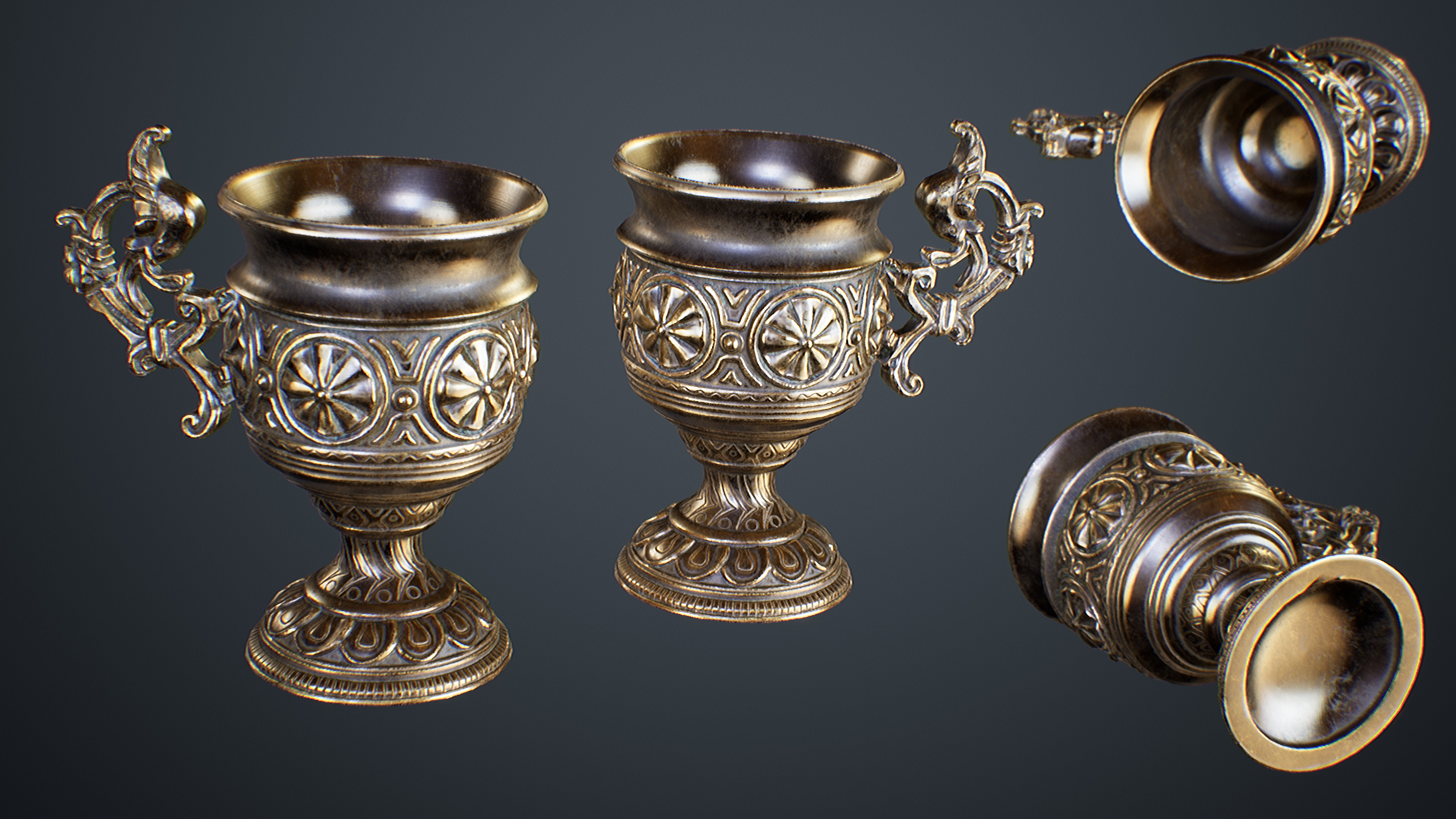 UE4 screenshot close up detailed multi angle shot of the golden grail