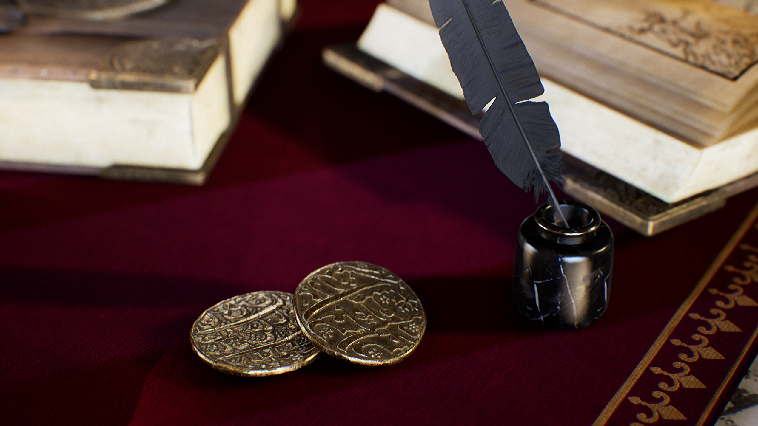 UE4 screenshot close up detailed shot of the coins, feather and ink holder