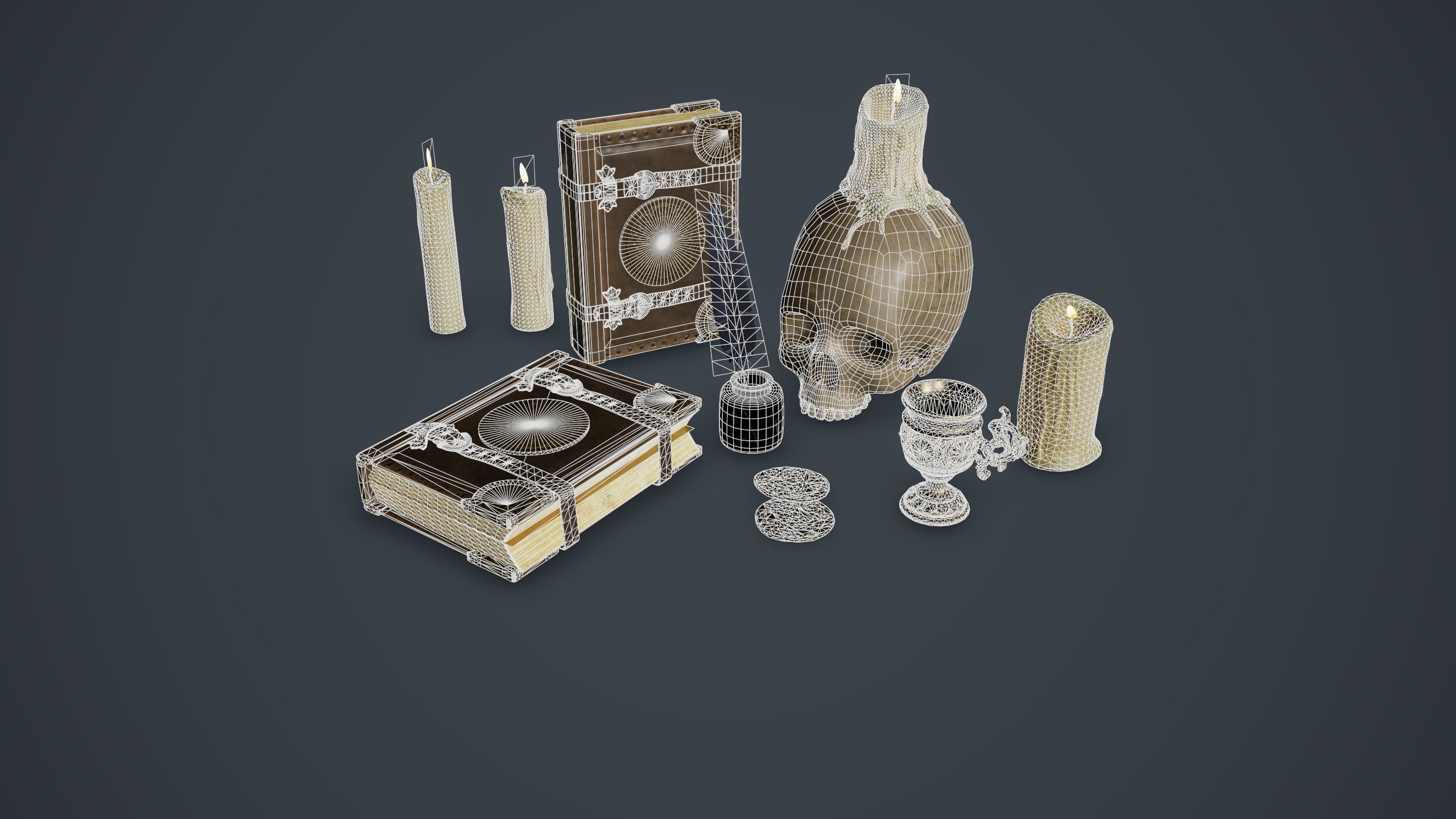 Wireframe shot of the props, rendered in Marmoset Toolbag