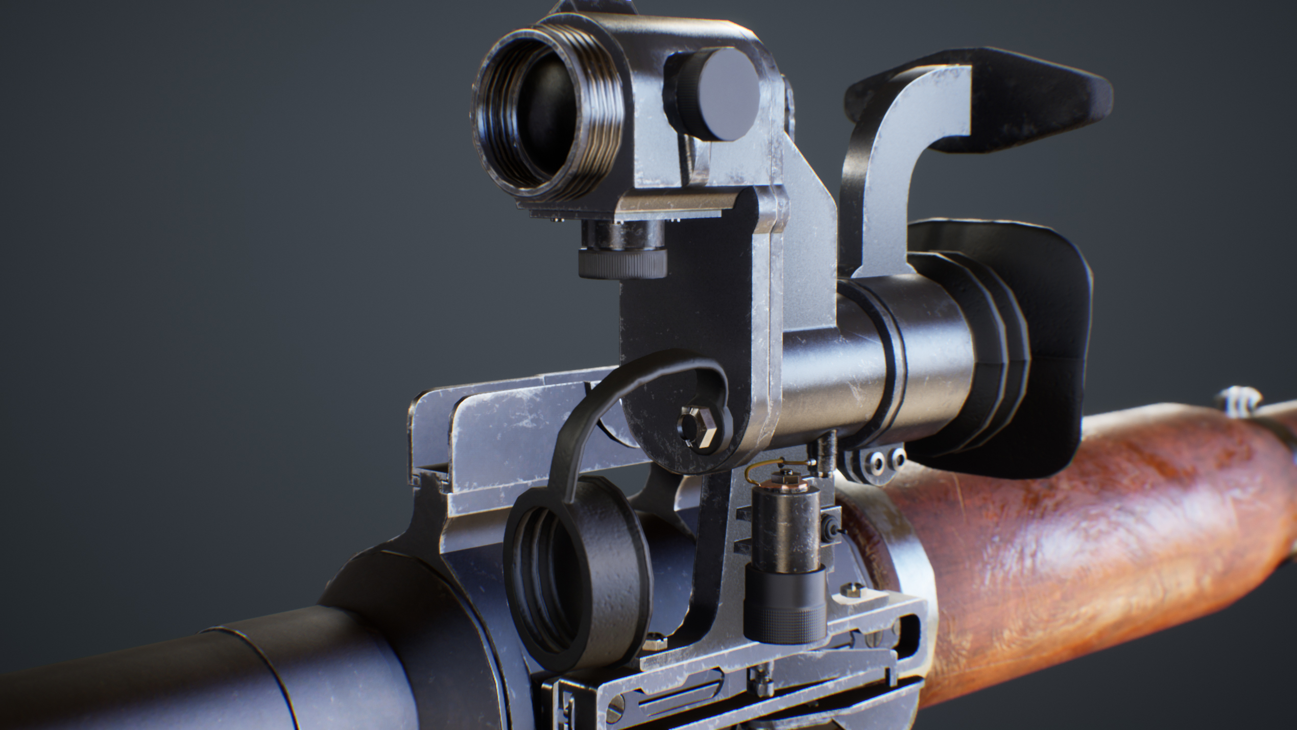 UE4 screenshot close up detailed front view of the PRG scope