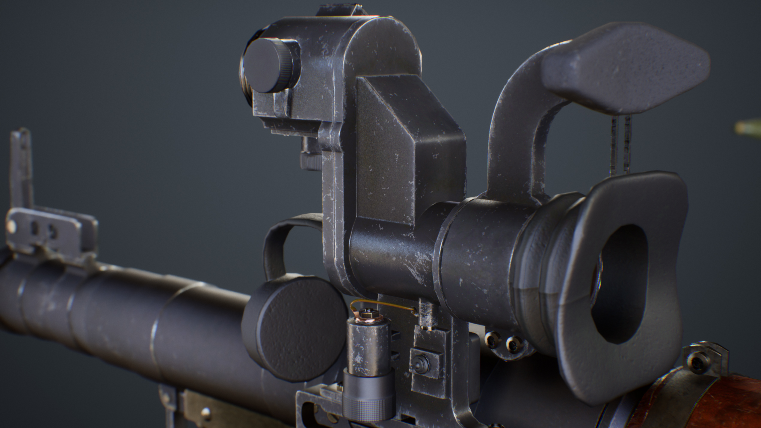 UE4 screenshot close up detailed back view of the PRG scope