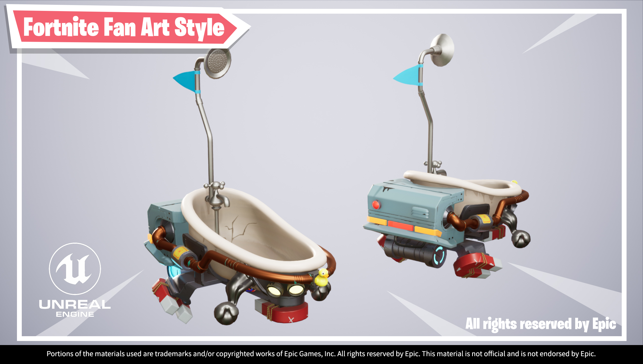 UE4 screenshot of Hover Bath Tub, multi angle view shot in grey background