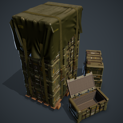 Military Crates Scene Project