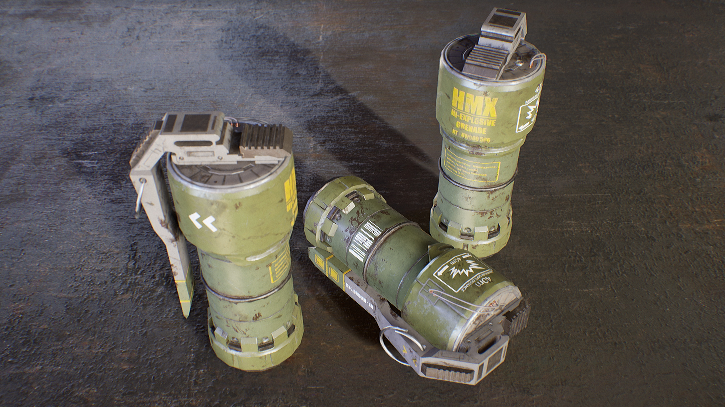 UE4 screenshot close up side view shot of the sci-fi grenades in a metallic floor