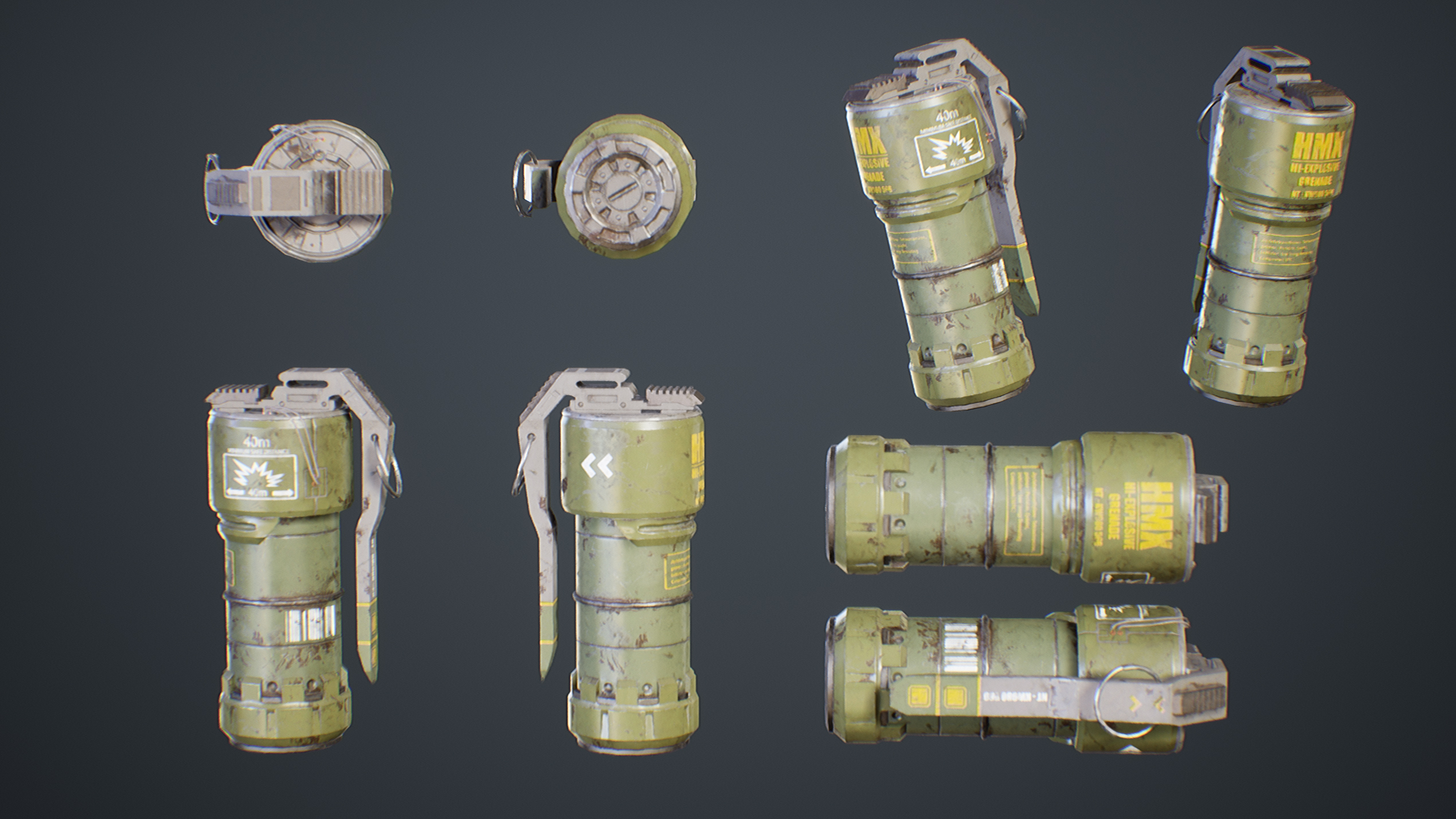 UE4 screenshot  multi angle view detailed shot of the sci-fi grenades
