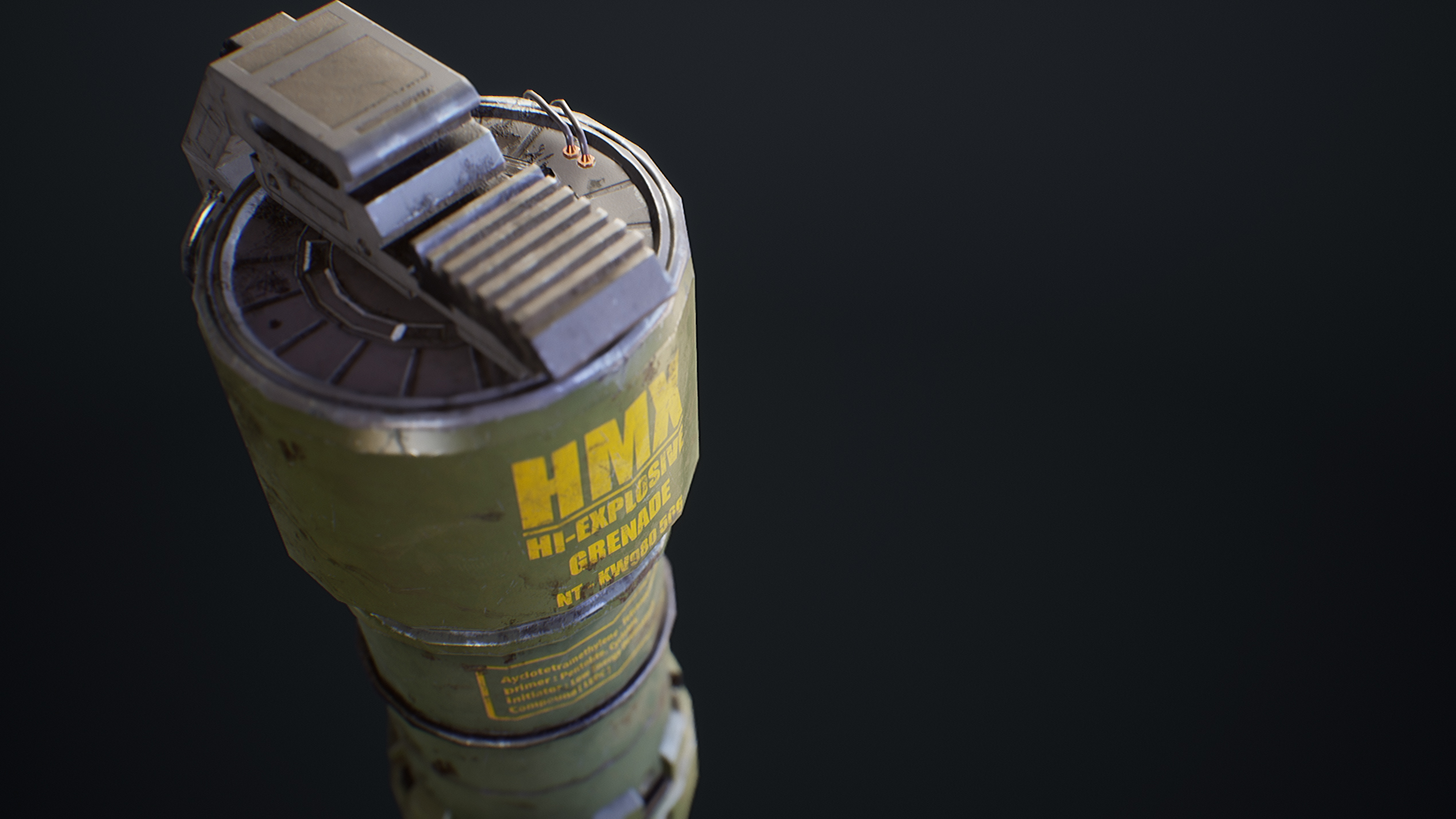 UE4 screenshot close up front view detailed shot of the sci-fi grenade