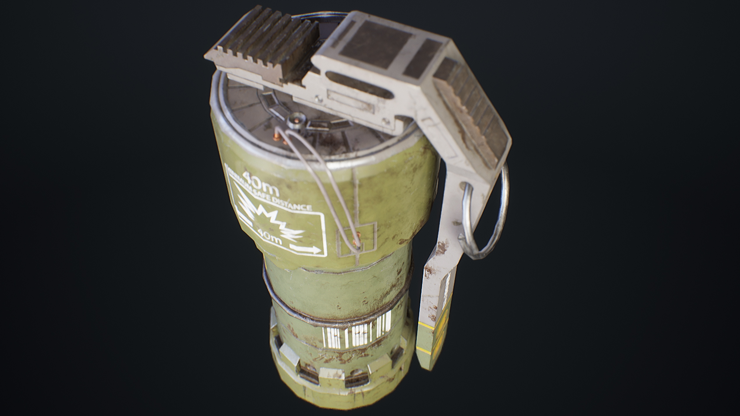 UE4 screenshot close up back view detailed shot of the sci-fi grenade