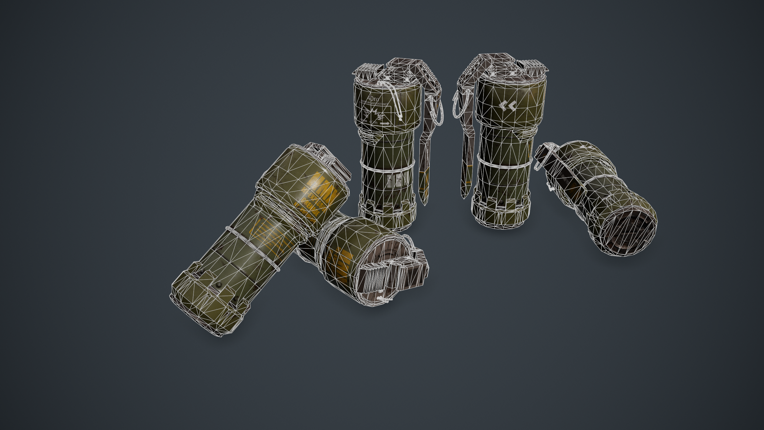 Wireframe shot of the sci-fi grenade, rendered in Marmoset Toolbag